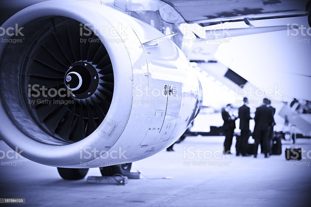 Airplane cabin crew shift changing royalty-free stock photo