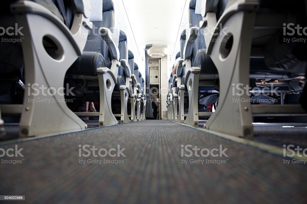 airplane cabin low angle view stock photo