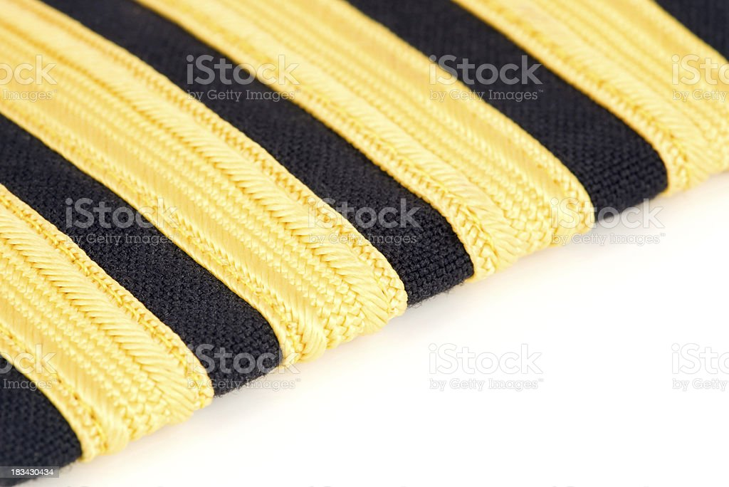Airplane Captain's Four-Bar Black/Gold Shoulder Epaulette stok fotoğrafı