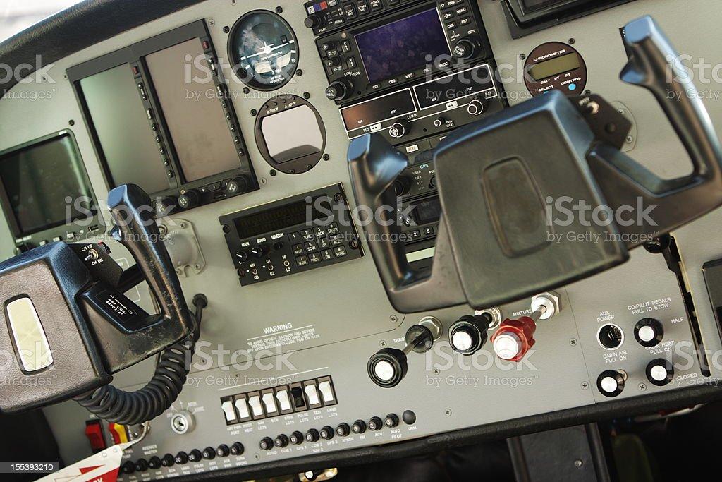 Airplane Cockpit Cessna Controls stock photo