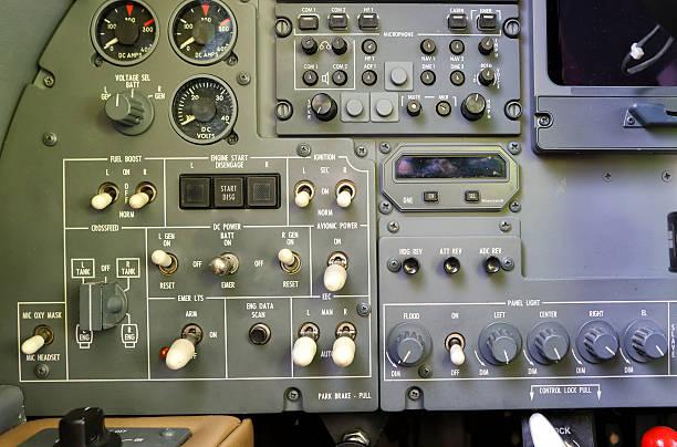 Airplane cockpit dashboard stock photo
