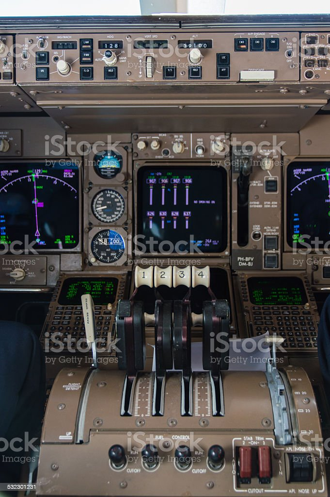 Airplane Cockpit Instruments stock photo