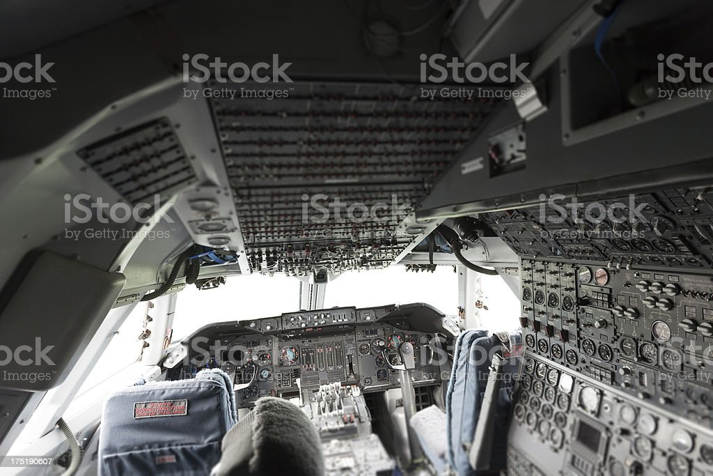 Airplane cockpit interior royalty-free stock photo