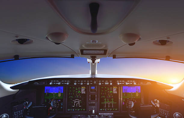 airplane cockpit - cockpit stock photos and pictures