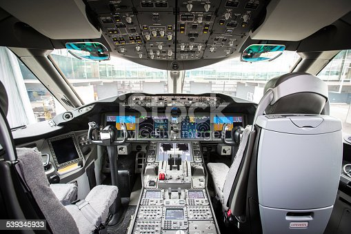 Inside a modern airplane cockpit
