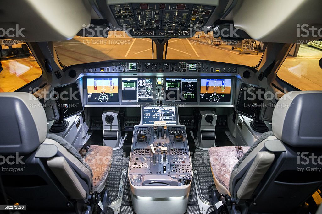 Airplane Cockpit stock photo