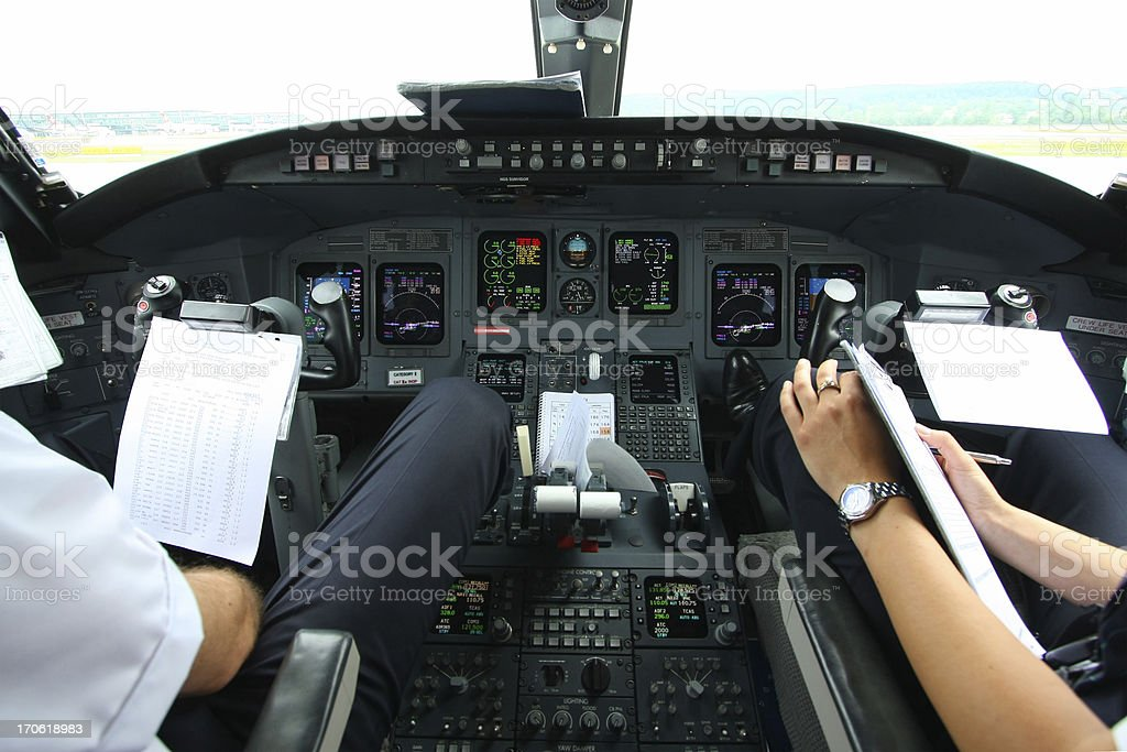 Airplane cockpit....Pilots at work checking data of weather royalty-free stock photo
