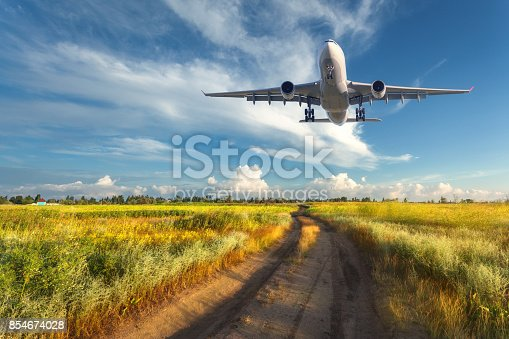 816320512 istock photo Airplane. Colorful landscape with passenger airplane is flying in the blue sky with clouds over yellow grass field with road at sunset in summer. Passenger airplane is landing. Commercial aircraft 854674028