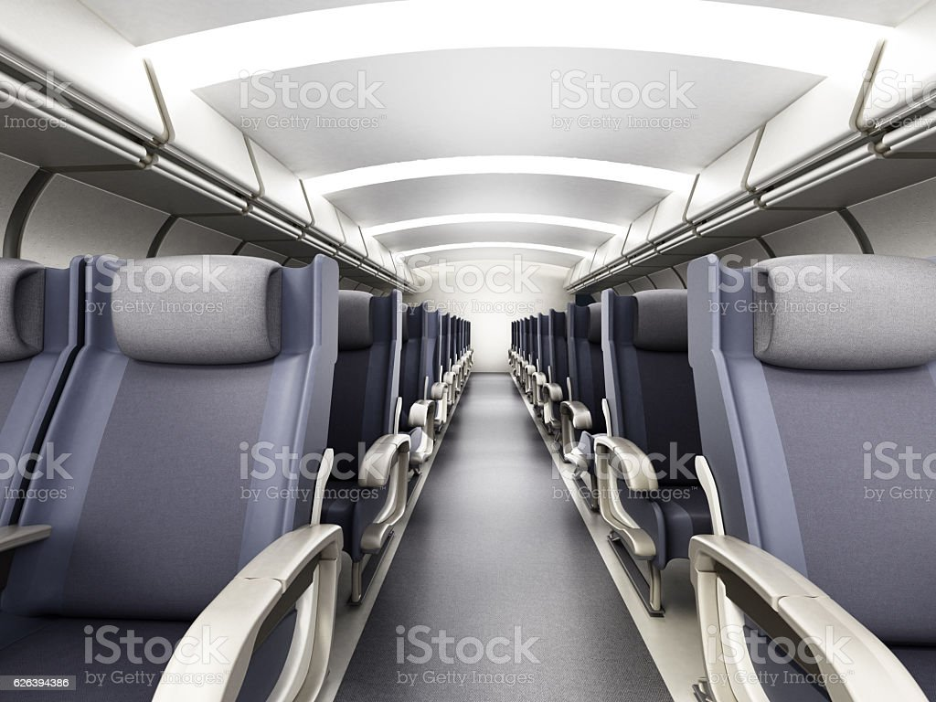 Airplane corridor stock photo