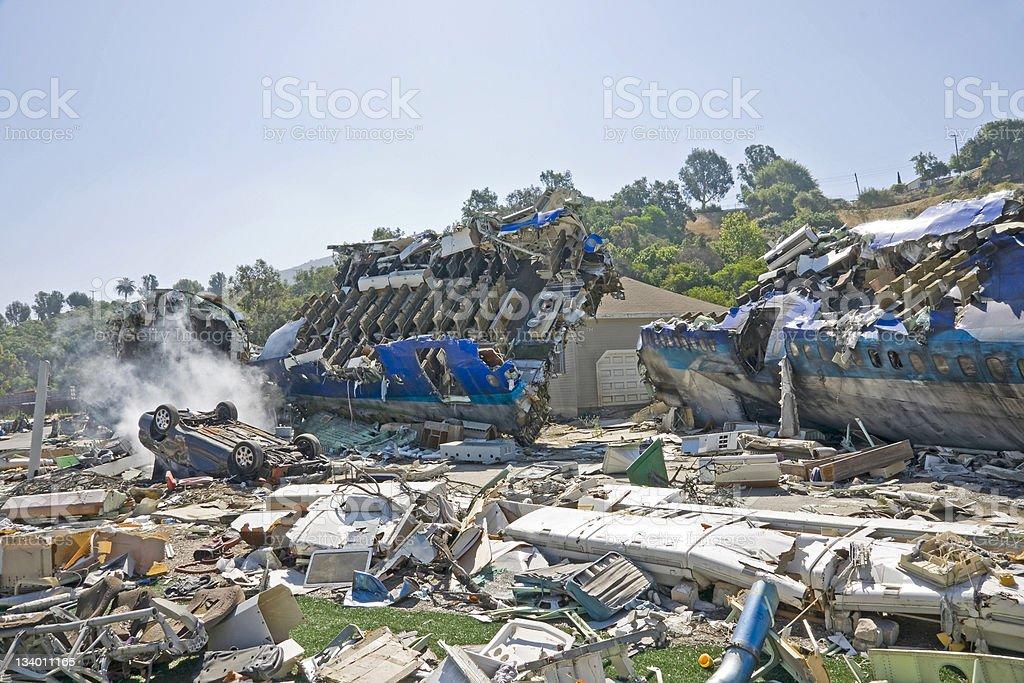 Airplane crash stock photo