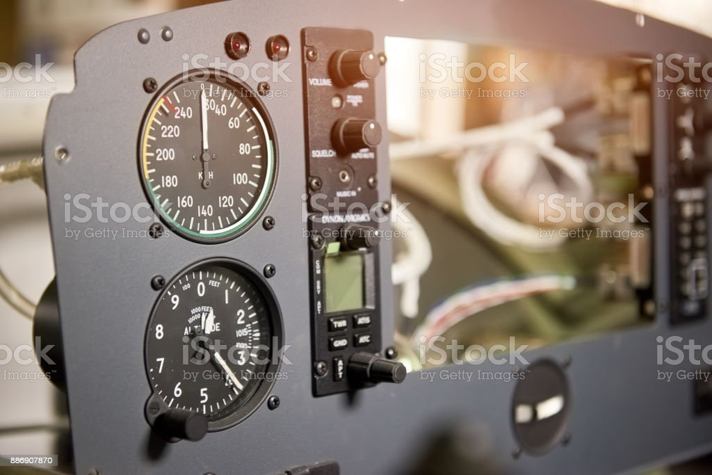 Airplane dashboard macro. stock photo