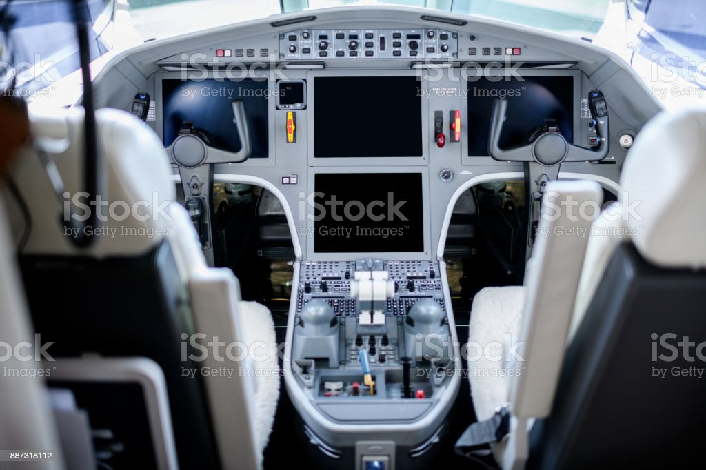 Airplane dashboard stock photo