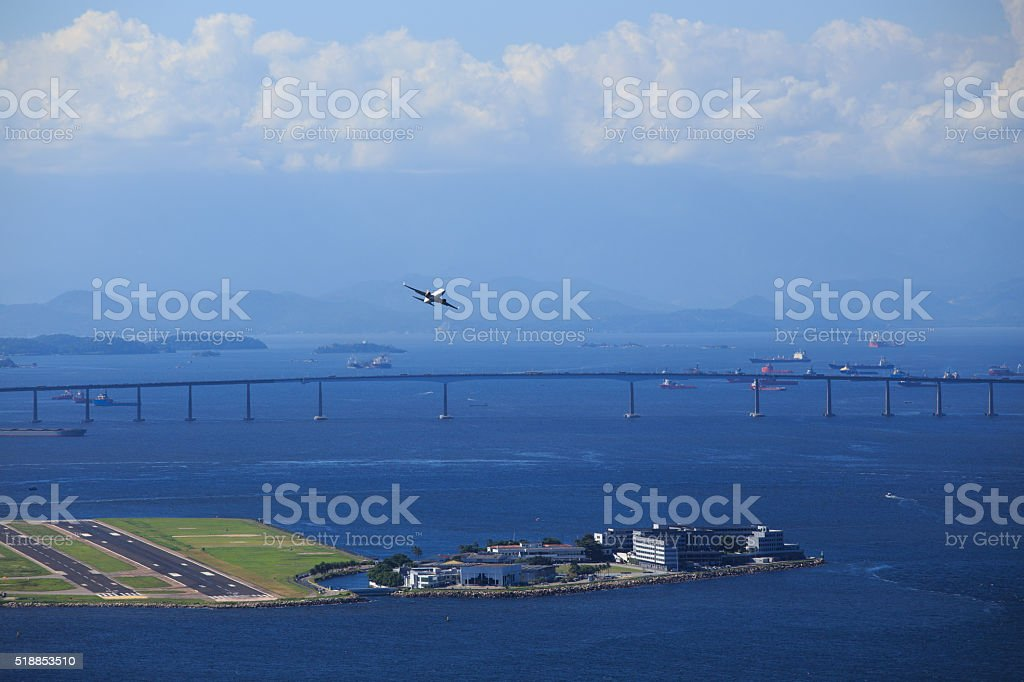 airplane departure from Rio stock photo