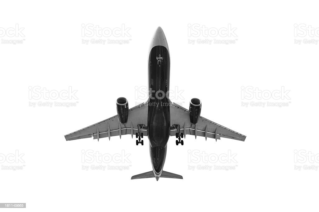 Airplane directly from below. Isolated on white royalty-free stock photo