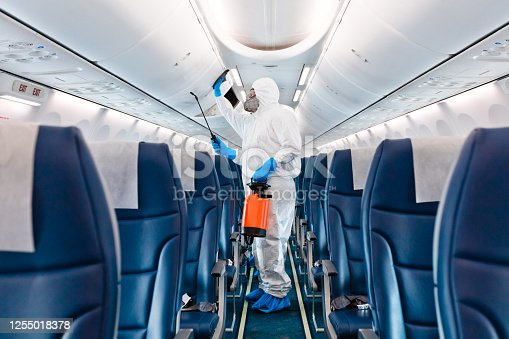 Men in protective suits and masks disinfecting airplane. Unrecognizable person.