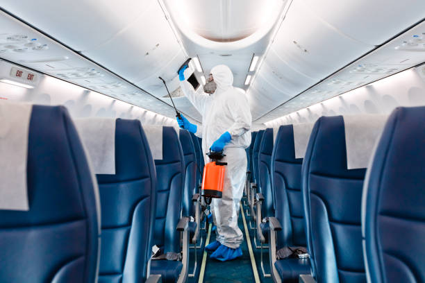 Airplane disinfection due to COVID-19 stock photo