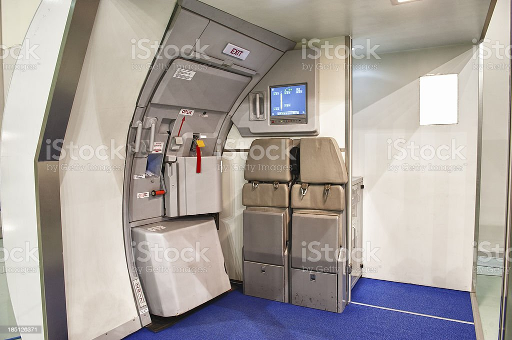 Airplane emergency exit door stock photo