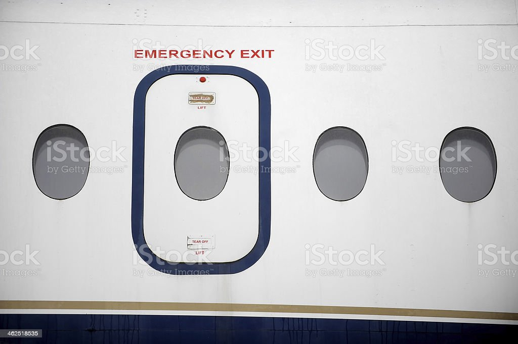Airplane Emergency Exit stock photo