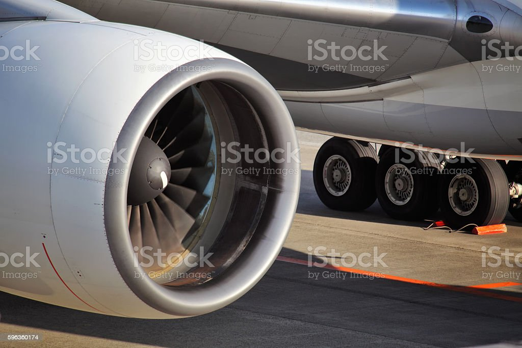 Airplane engine. Close-up royalty-free stock photo