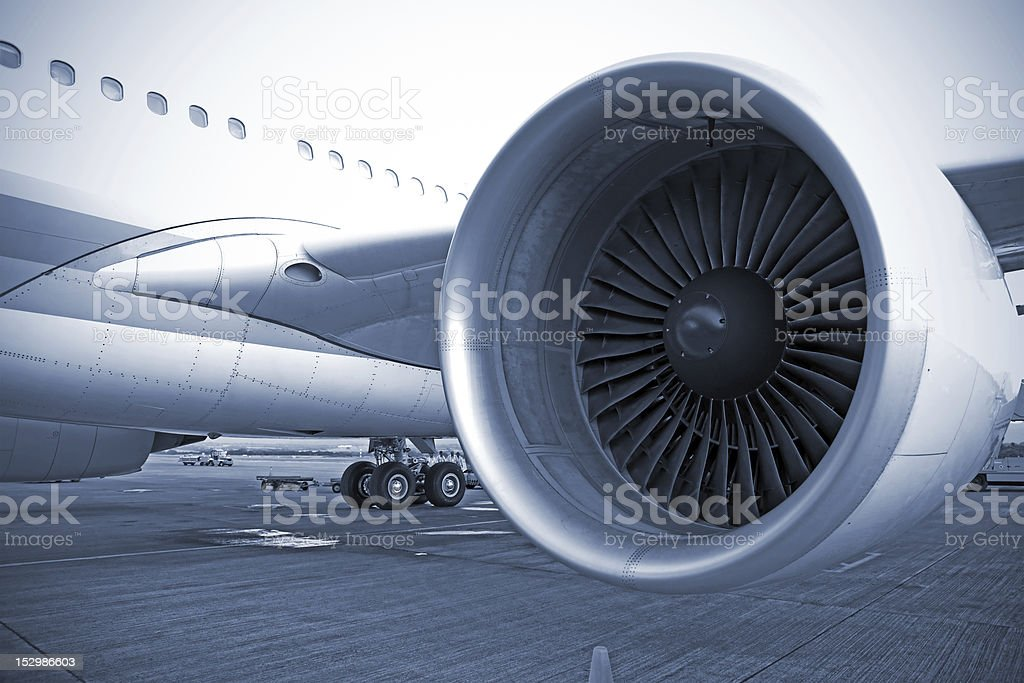 airplane engine in airport stock photo