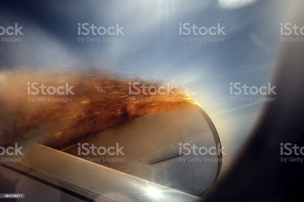 Airplane engine in fire stock photo