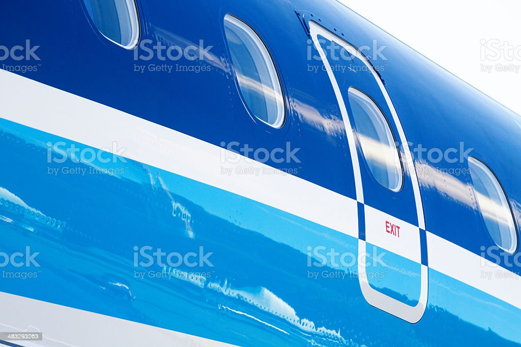 Airplane exit door close-up royalty-free stock photo