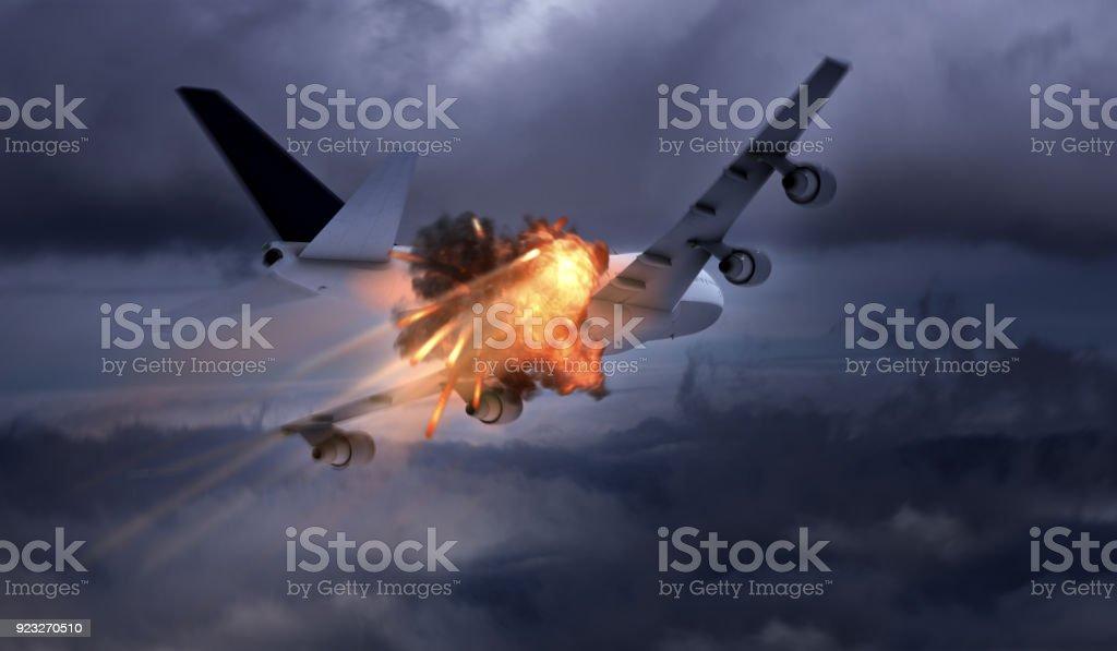 Airplane explosion / terror attack stock photo