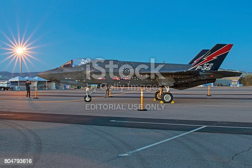 1145066973 istock photo Airplane F-35 Lightning aircraft number 1 on the runway during sunrise 804793616