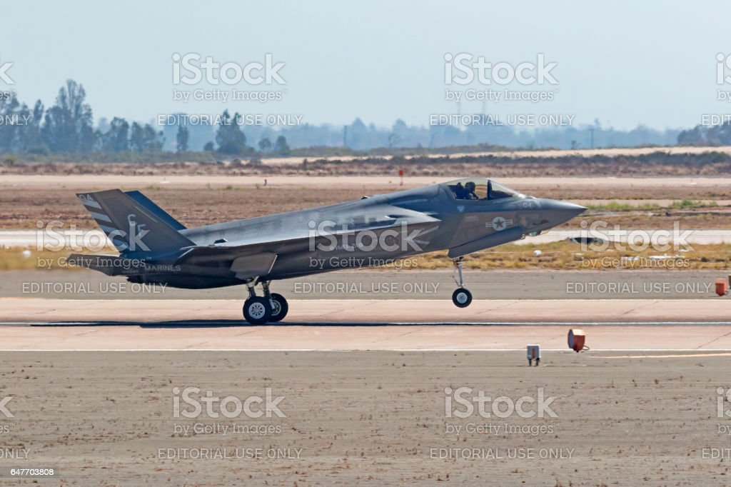 airplane f35 lightning aircraft takeoff from runway at air show