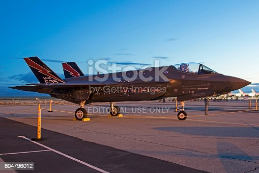 1145066973 istock photo Airplane F-35 Lightning jet fighter on the runway during sunrise 804796012