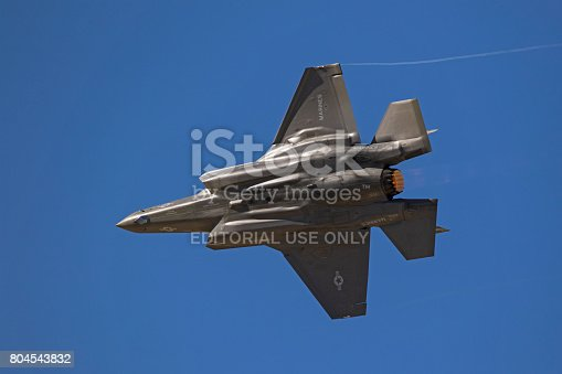 1145066973 istock photo Airplane F-35 Lightning stealth jet fighter high speed pass during air show 804543832