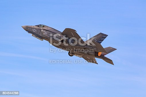 1145066973 istock photo Airplane F-35 Lightning stealth jet fighter take-off during air show 804544266