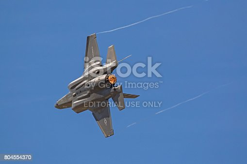 1145066973 istock photo Airplane F-35 Lightning stealth jet foghter fast speed pass during air show 804554370