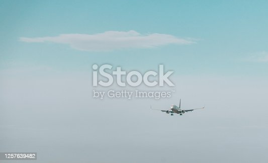 494996104 istock photo Airplane flies in the sky 1257639482