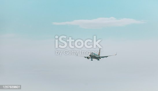 494996104 istock photo Airplane flies in the sky 1257639601