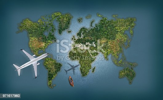 1058205304 istock photo Airplane flies over a sea with World Map abstract background 971617960
