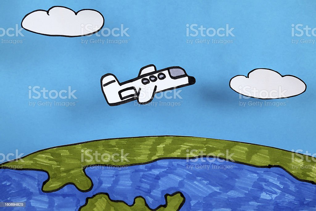 Airplane flies over planet Earth royalty-free stock photo