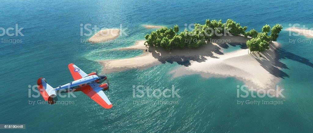 Airplane flies stock photo