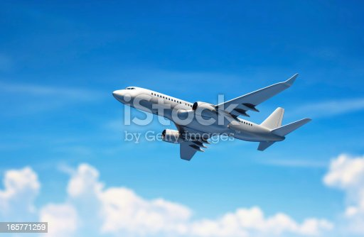 istock Airplane flying above clouds. 165771259