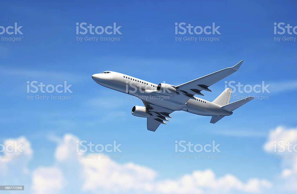 Airplane flying above clouds. stock photo