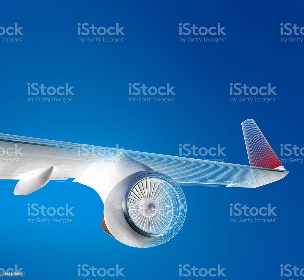 Airplane Flying Above The Sky stock photo