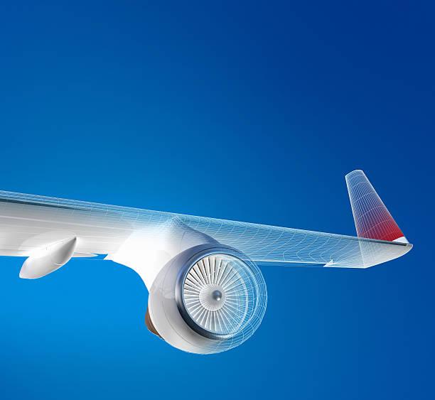 비행기 플라잉 위의 스카이 - 항공기 날개 뉴스 사진 이미지