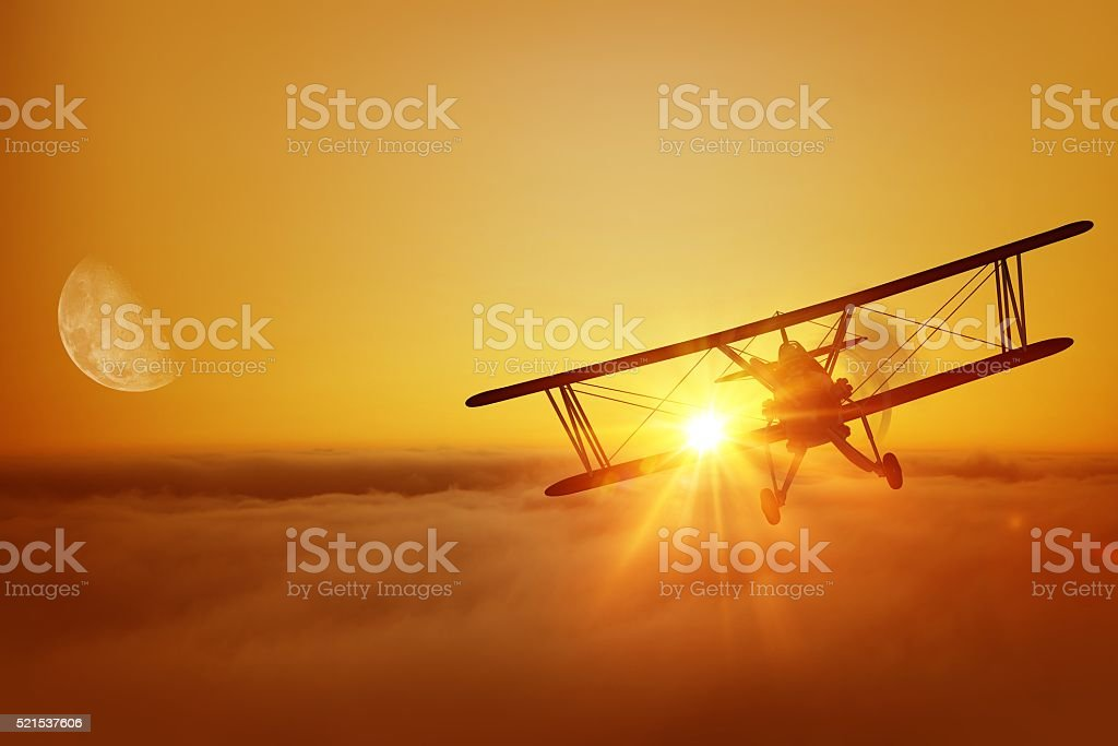 Airplane Flying Adventure stock photo