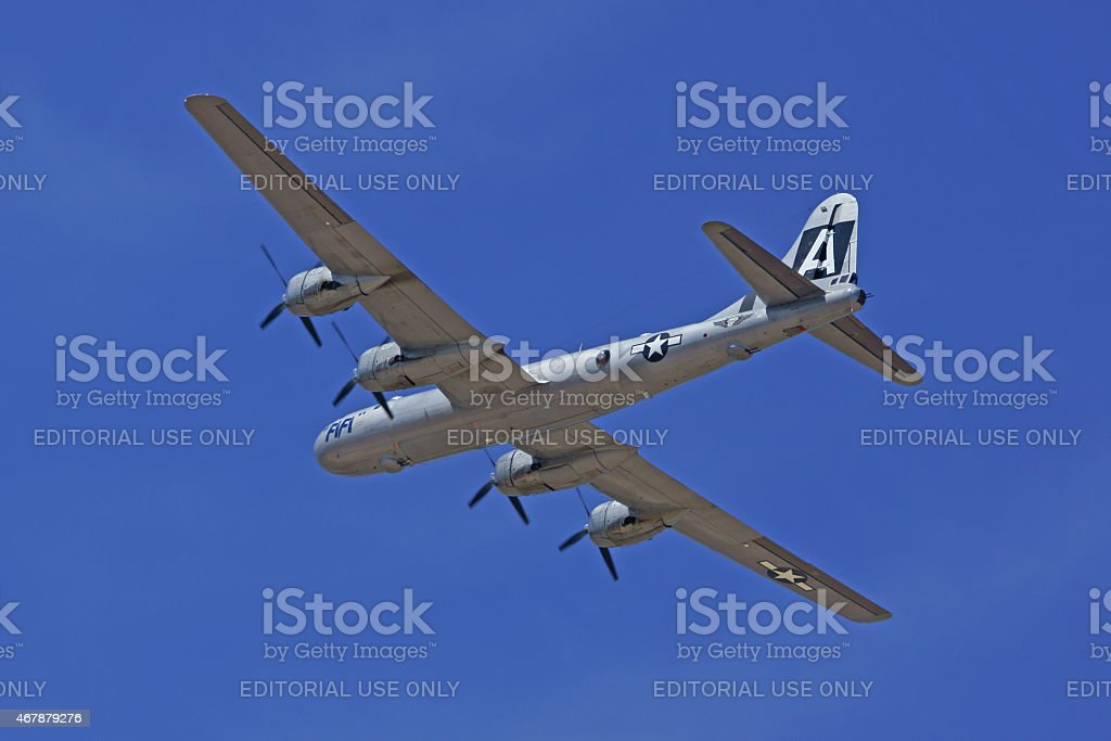 B-29 WWII Airplane flying at 2015 Los Angeles Air Show stock photo