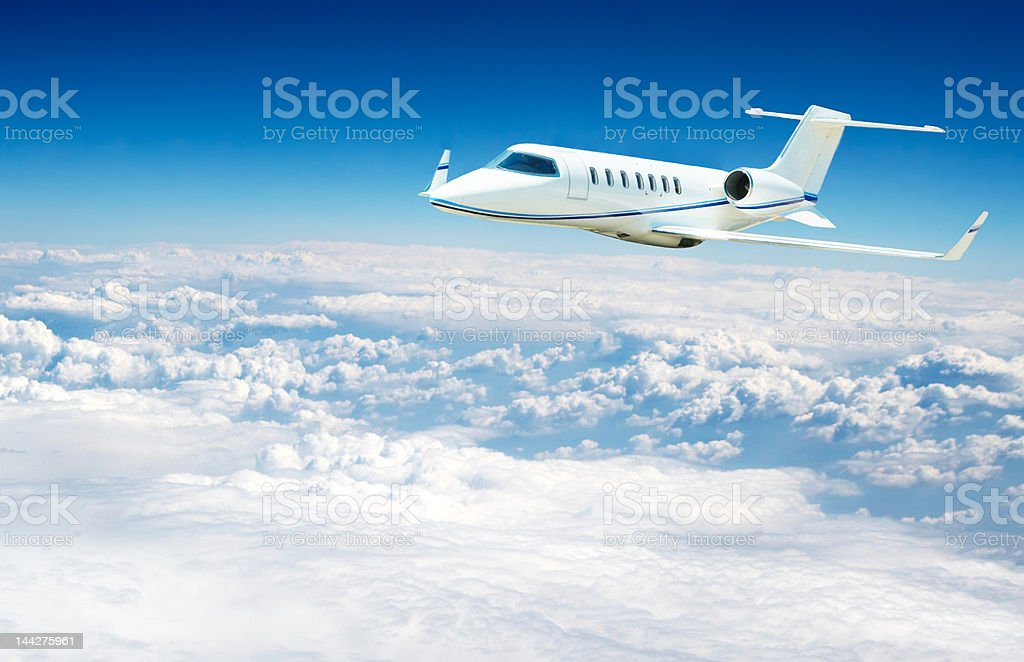 Airplane flying high alttitude royalty-free stock photo
