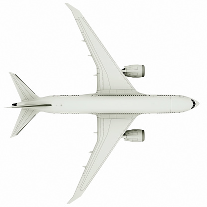 istock Airplane flying, isolated on white background. 3d illustration 1186995238