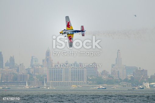 istock Airplane flying low in New York City. 474750110