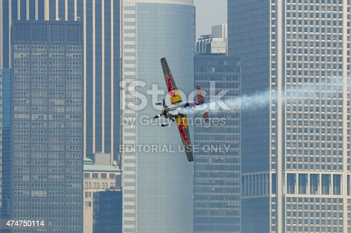 istock Airplane flying low in New York City. 474750114