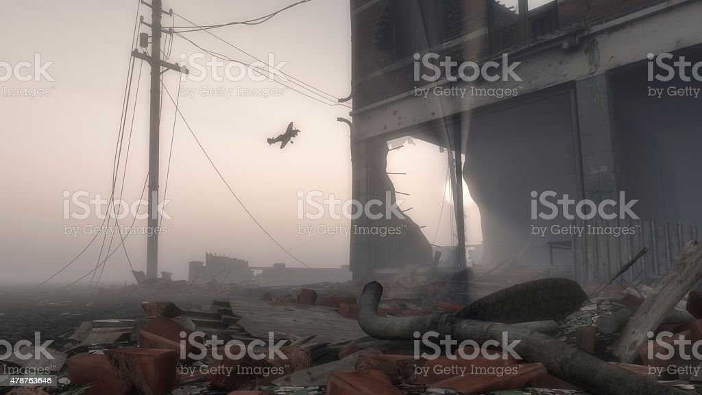 Airplane Flying Over Destroyed Ruins of City stock photo