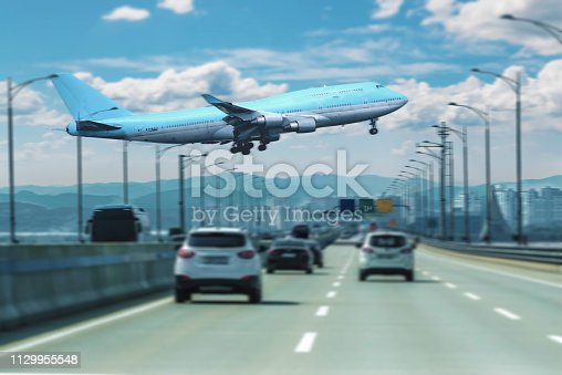 istock airplane flying 1129955548